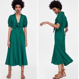 Zara Duck Green Linen Front Tie Midi Dress.